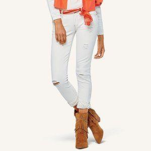 CAbi | White Distressed Slim Boyfriend Jeans